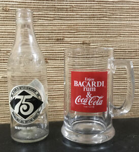 Vintage 1978 Bacardi Rum/Coke Glass Mug & Coca Cola 75th Anniversary Bottle