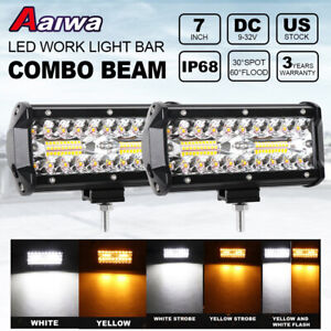 2x 7 Inch 180w Led Light Bar Spot Flood White Amber Offroad 4wd Fog Driving Pod