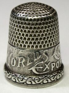 Antique Simons Bros 1893 Columbian Exposition Sterling Silver Thimble D 1892