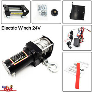 4000lb Electric Winch 24v Atv Towing Truck Trailer Boat 2 Ton Steel Rope Kit