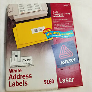 Avery 5160 White Mailing Labels Laser 3000 Labels 1 X 2 5 8 New Opened Box