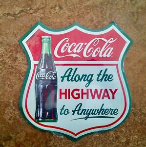 Coca Cola Vintage-Style Metal Sign  Highway to Anywhere - Garage  Man Cave  Shop