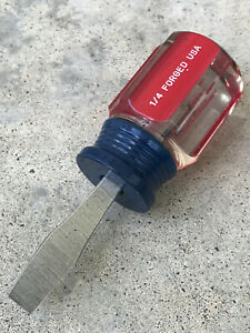 Craftsman 4151 Wf Stubby 1 4 Slotted Screwdriver Clear And Red Handle Usa