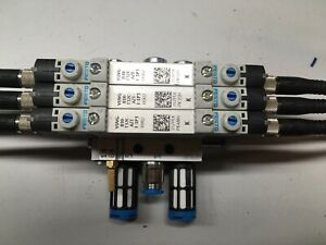 Qty 3 Festo Solenoid Valve Vuvg b10 t32c zt f 1p3 With Manifold Pneumatic
