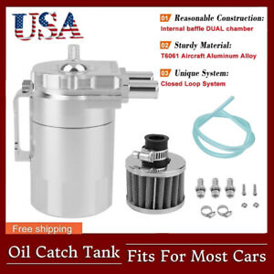 Cylinder Aluminum Engine Oil Catch Can Tank Reservoir Breather W Filter Kit Us