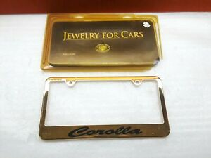 Rare Universal Brass Inc 24k Gold Plated Toyota Corolla License Plate Frame