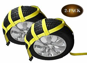 Tow Dolly Basket Straps With Flat Hooks 2 pack Car Wheel Straps For Auto