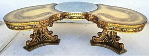Vintage 1960 S French Provincial Carved Wood Glass Top Coffee Cocktail Table