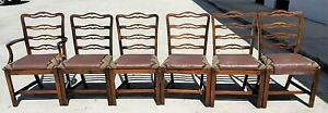Vintage English Chippendale Style Mahogany Ribbon Back Dining Chairs Set Of 6