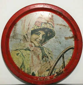 """Antique Coca Cola Advertising Tray Large Round 13"""" marked Reg Trade"""
