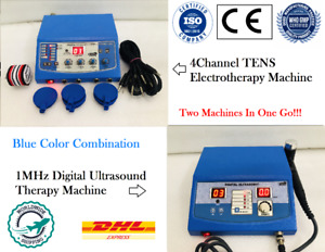 New Ultrasound Therapy 1mhz Electrotherapy 4 Ch Therapy Unit Blue Combo Machine