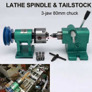 Tailstock lathe Spinlde Kit 3 jaw Chuck 80mm Rotary Table Wood Jade Processing