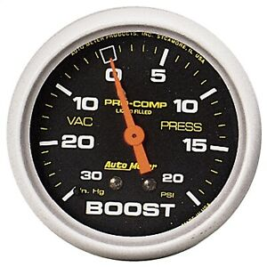 Autometer 5401 Pro Comp Mechanical Boost Gauge With Liquid Filled Vacuum