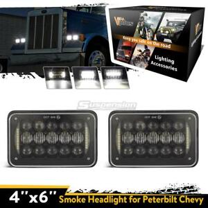 4 x6 1pair Super White Hi lo Beam Headlights With Drl Cree Led For Freightliner