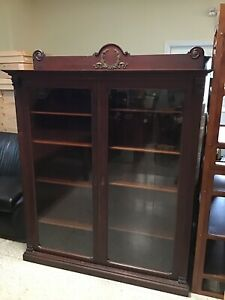 Hand Crafted 1910 English Antique Edwardian Cabinet Bookcase W Glass Doors