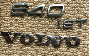 Volvo S40 1 9 T Rear Lid Chrome Emblem Logo Badge Sign Set Oem 2002