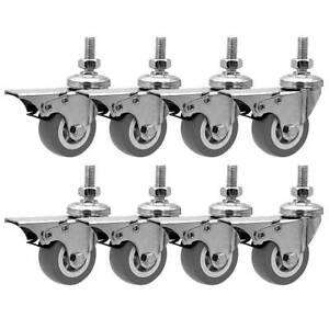 8 Pack 2 Inch Stem Casters Swivel With Front Brake Grey Pu Caster Wheels