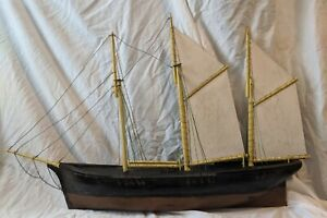 Incredible Antique Wood Clipper Ship Weathervane Model Pond Yacht Boat 43 X 27