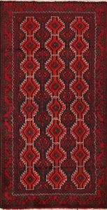 Vintage Balouch Afghan Oriental Area Rug Hand Knotted Tribal Kitchen Carpet 3x5