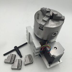 4th A Rotary Axis Nema23 6 1 Stepper Motor 3jaw 80mm K11 80 Chuck Cnc Millin