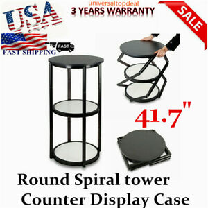 41 7 Round Portable Aluminum Spiral Counter Display Case With Shelves And Panel