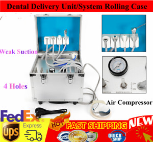 Portable Dental Delivery Unit system Rolling Case Mobile air Compress suction 4h