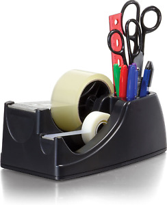 Tape Dispenser 2in1 Sizes Heavy Duty Weighted Office Desktop Desk Recycled Black