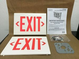 Exit Sign Lxurwe Hubbell Led Emergency Lighting White W Red Letter 120 277 Vac