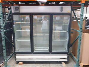 True Gdm 72 Three Door Display Refrigerator W swinging Glass Doors