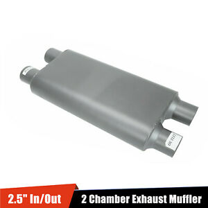 2 5 Inlet 2 5 Outlet Dual 23 Oval Body Length 2 Chamber Exhaust Muffler