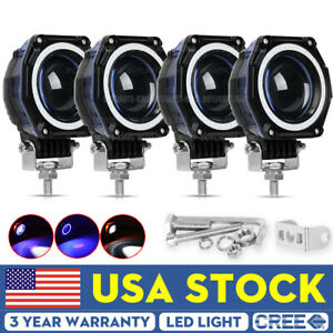 4pcs 3inch Round Drl Led Fog Driving Work Light Hi Lo Offroad Truck Blue White