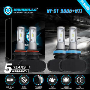 9005 H11 Combo Fanless Led Headlight Kits High Low Beam Bulb 6500k White 2sets