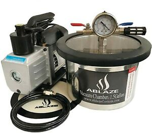 Ablaze 1 5gal Stainless Steel Vacuum Degassing Chamber 3cfm Single Stage Pump