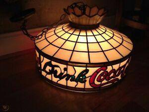 Vintage 1970s Coca Cola Pool Table/Patio Swag Lamp--Tiffany Stained Glass Look!!