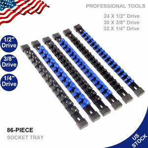 6pcs Industrial Abs Socket Rail Rack Holder Organizer 1 4 3 8 1 2 Black