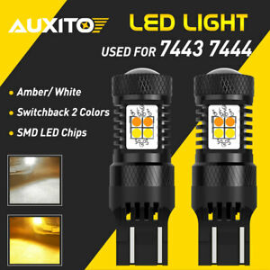 White Amber 7443 Led Drl Switchback Turn Signal Parking Light Bulbs Dual Color
