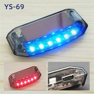 Solar Car Dummy Alarm Warning Stimulated Anti Theft Flashing Red Blue Led Light