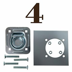 Four Recessed D Ring Trailer Cargo Tiedown Anchors Mounting Lockplates Bolts
