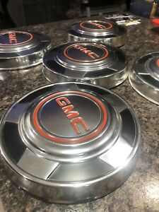 5 Vintage 1973 1987 Gmc Pick Up Truck Dog Dish 10 1 4 Hubcaps Excellent Cond