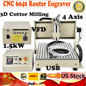1 5kw Usb 4 Axis Cnc 6040 Router Engraver Engraving Drilling Machine 3d Cutter