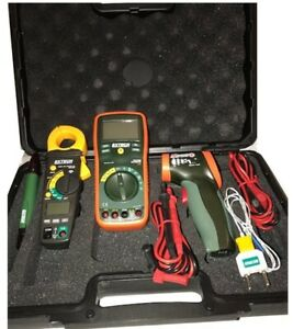 Extech Industrial electrical Test Set True Rms Dmm Clamp Meter Ir Thermometer