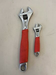 Snap On Fadh702a 2pc Flank Dr Red Soft Grip Adjustable Wrench Set Free Ship