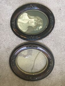 Matching Pair Carved Walnut Oval Picture Frames Victorian Wood Antique 8 X 10