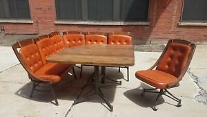 Mcm Dining Breakfast Nook Benches Table Chair W Cushions Vintage
