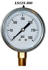 New Hydraulic Liquid Filled Pressure Gauge 0 300 Psi 2 5 Face 1 4 Lm