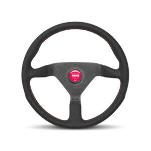 Momo Montecarlo Black Suede W Red Stitching 350mm Steering Wheel New Genuine