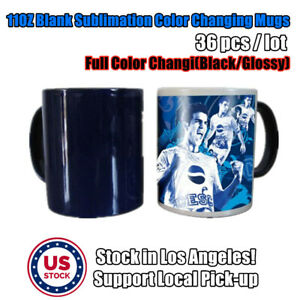 36pcs lot Black Glossy Magic Cup 11oz Blank Sublimation Full Color Changing Mugs