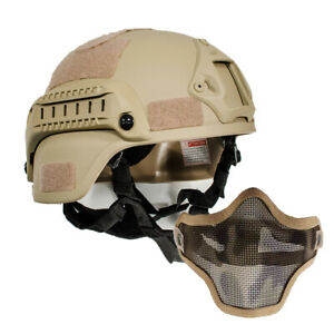 Military airsoft tactical MICH2000 Simplified Action combat helmet w Half mask $31.09