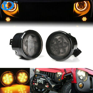 Front Amber Led Turn Signal Lights For Jeep Wrangler Jk 2007 2018 smoke Lens
