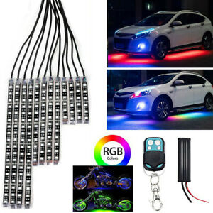 4x Led Rgb Car Neon Interior Atmosphere Lights Strip Music Control Bluetooth App